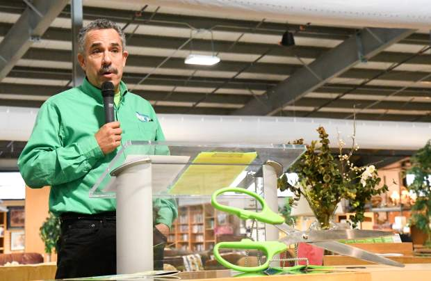 Habitat for Humanity President Scott Gilbert address the crowd at the new ReStore ribbon cutting and grand opening on Thursday afternoon.