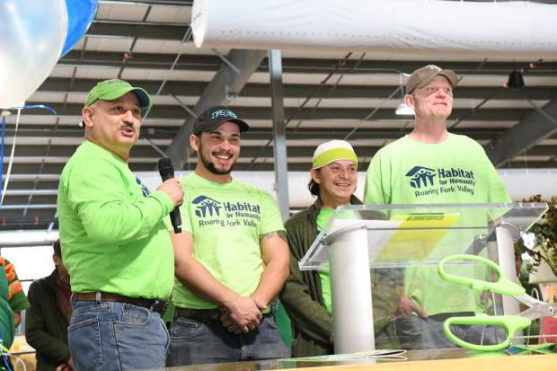 Hector Vazquez speaks highly of his ReStore team at the new Habitat for Humanity ReStore ribbon cutting and opening celebration.