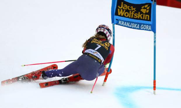 United States' Mikaela Shiffrin speeds down the course during an alpine ski, women's World Cup giant slalom in Kranjska Gora, Slovenia, Saturday, Jan. 6, 2018. (AP Photo/Marco Trovati)