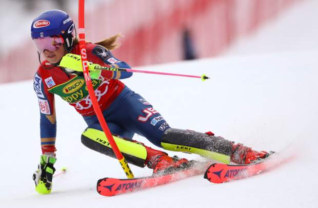 United States' Mikaela Shiffrin competes during an alpine ski, women's World Cup slalom in Kranjska Gora, Slovenia, Sunday Jan. 7, 2018. (AP Photo/Marco Trovati)