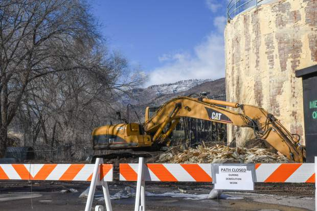 Work began Tuesday to tear down the decommissioned former Glenwood Springs wastewater treatment plant facilities on Seventh Street. Gould Construction has been contracted to raze the old concrete structures that will open the area for redevelopment as part of the city's Confluence Redevelopment Plan. During the demolition work, the pedestrian tunnel between Seventh Street and the Glenwood River Trail will be closed until spring, and parking at the city parking lot will also be impacted, according to a city news release.
