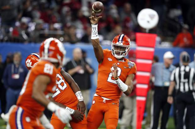 Clemson quarterback Kelly Bryant (2) warms up before the Sugar Bowl semi-final playoff game against Alabama for the NCAA college football national championship, in New Orleans, Monday, Jan. 1, 2018. (AP Photo/Gerald Herbert)
