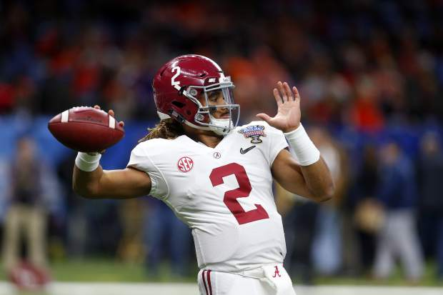 Alabama quarterback Jalen Hurts (2) warms up before the Sugar Bowl semi-final playoff game against Clemson for the NCAA college football national championship, in New Orleans, Monday, Jan. 1, 2018. (AP Photo/Butch Dill)