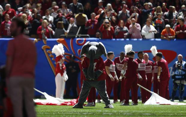The Alabama mascot stands on the field the Sugar Bowl semi-final playoff game against Clemson for the NCAA college football national championship, in New Orleans, Monday, Jan. 1, 2018. (AP Photo/Butch Dill)