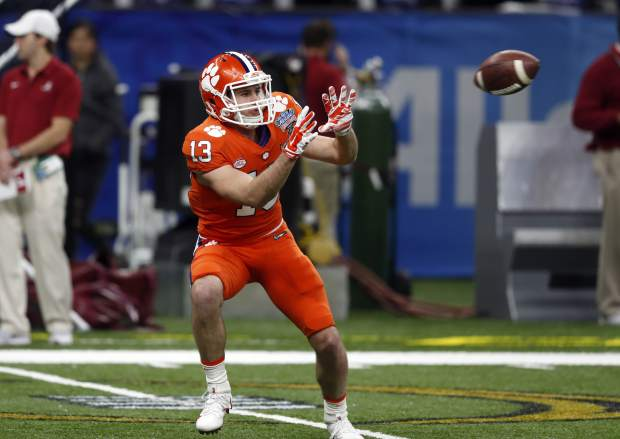 Clemson wide receiver Hunter Renfrow (13) warms up before the Sugar Bowl semi-final playoff game against Alabama for the NCAA college football national championship, in New Orleans, Monday, Jan. 1, 2018. (AP Photo/Gerald Herbert)