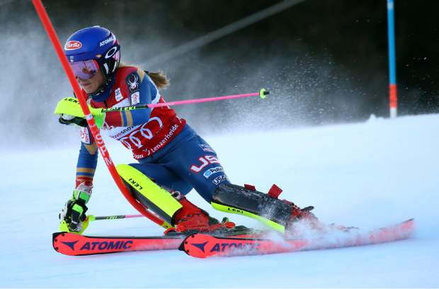 United States' Mikaela Shiffrin speeds down the course during the first run of an alpine ski, women's World Cup slalom, in Lenzerheide, Switzerland, Sunday, Jan. 28, 2018. (AP Photo/Alessandro Trovati)