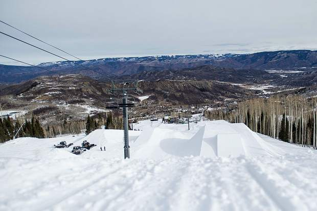 View seen from the second jump on the U.S. Grand Prix slopestyle course in Snowmass on Saturday.