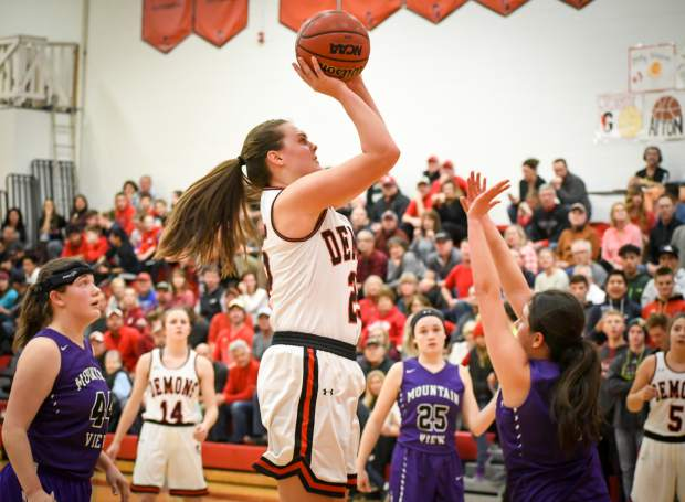 Glenwood Springs senior Tatum Peterson rises up for a shot during Tuesday night's 4A CHSAA first round state playoff game inside Chavez-Spencer Gymnasium.
