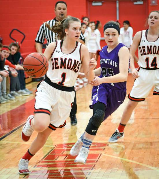 Glenwood Springs senior guard Maddie Bolitho dribbles past a Mountain View defender during Tuesday night's first-round playoff game at Glenwood Springs High School.