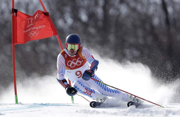 United States' Ted Ligety competes during the first run of the men's giant slalom at the 2018 Winter Olympics in Pyeongchang, South Korea, Sunday, Feb. 18, 2018. (AP Photo/Luca Bruno)