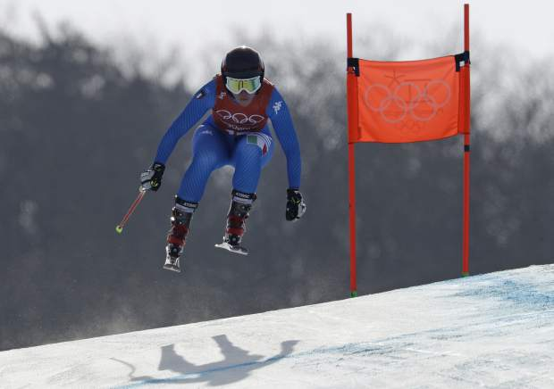 Italy's Sofia Goggia competes in women's downhill training at the 2018 Winter Olympics in Jeongseon, South Korea, Monday, Feb. 19, 2018. (AP Photo/Luca Bruno)