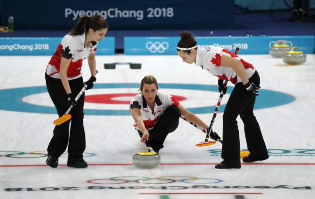 Canada's Emma Miskew launches the stone during their women's curling match against Japan at the 2018 Winter Olympics in Gangneung, South Korea, Monday, Feb. 19, 2018. (AP Photo/Aaron Favila)