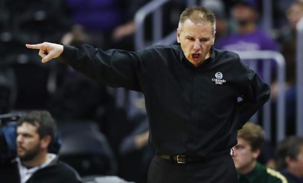 FILE - In this Dec. 17, 2016, file photo, Colorado State head coach Larry Eustachy directs his team against Kansas State in the second half of an NCAA college basketball game in Denver. Eustachy has agreed to step down as the men's basketball coach at Colorado State on Monday, Feb. 26, 2018, ending a