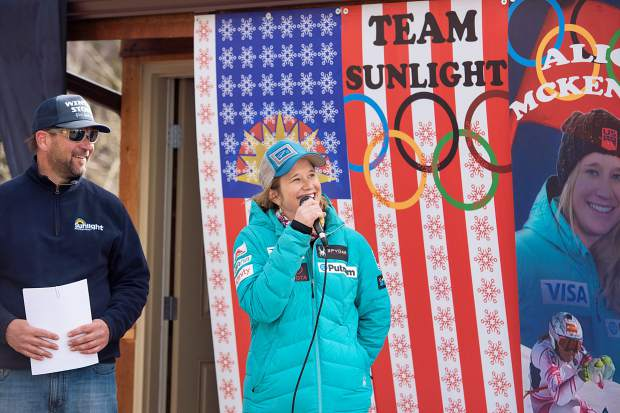 Olympian Alice McKennis speaks at a dedication ceremony at Sunlight Mountain Resort Saturday, where a run was renamed