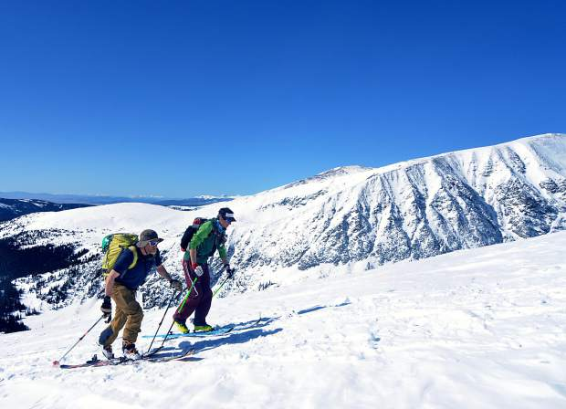 Teague Holmes,right, and Fritz Sperry skin along the final stretch of the East Ridge en route to the summit of Quandary Peak, a 14er within easy driving distance of Breckenridge. The two have skied dozens of lines off the surrounding peaks, including dozens in spring when conditions across Summit County start to stabilize.