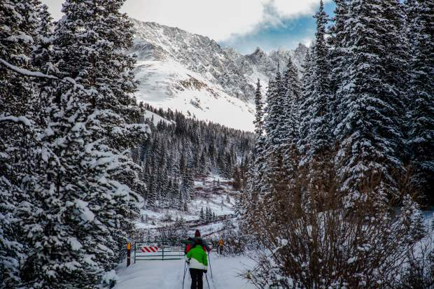Mayflower Gulch, found about 5 miles south of Copper Mountain, is an area popular with backcountry travelers and prime for touring until mid-May, when other, higher terrain is safer for travel.