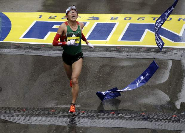 Yuki Kawauchi, of Japan, wins the 122nd Boston Marathon on Monday, April 16, 2018, in Boston. He is the first Japanese man to win the race since 1987. (AP Photo/Charles Krupa