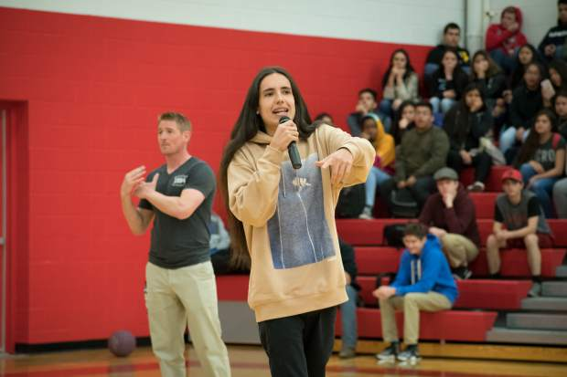 Xiutezcatl Martinez speaks to students at Glenwood Springs High School on Thursday morning.