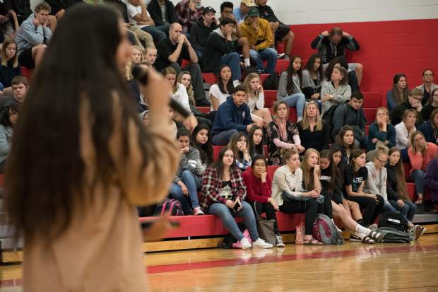 Students at Glenwood Springs High School listen to Xiuhtezcatl Martinez during his presentation on Thursday morning.