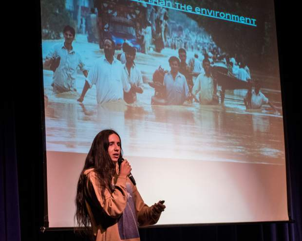 Xiutezcatl Martinez speaks to students at Roaring Fork High School on Thursday morning.