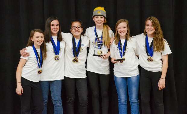 Team Destination Imagination with their state championship medals, from left, Ashley Brennan, Cailey Cashion, Brianna Contreras, Alicia Lowe, Katelyn Brennan and Ava Hillbrand.