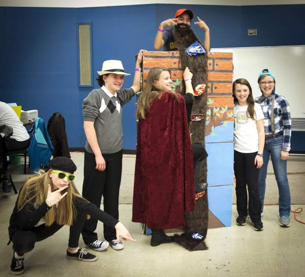 Members of the combined St. Stephen's and Waldorf School Destination Imagination team work on their skit for the upcoming DI global competition in Tennessee.