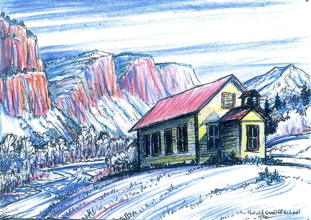 Among local muralist Fred Haberlein's smaller works were a series of paintings of the Cardiff Schoolhouse, one in each of the four seasons, which are sold as a fundraiser for the nonprofit organization that maintains and performs shows at the facility.