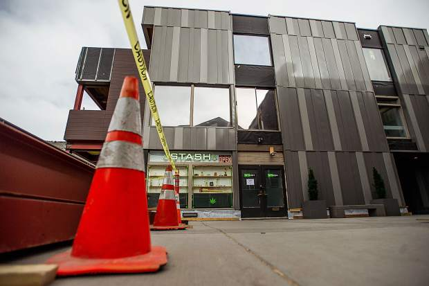 Construction outside of Stash the dispensary in Aspen.
