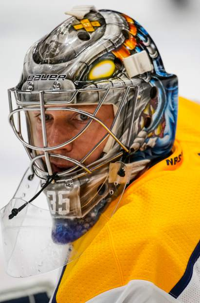 Nashville Predators goaltender Pekka Rinne looks on during warm ups in Game 6 of an NHL hockey first-round playoff series against the Colorado Avalanche Wednesday, April 18, 2018, in Denver. (AP Photo/Jack Dempsey)