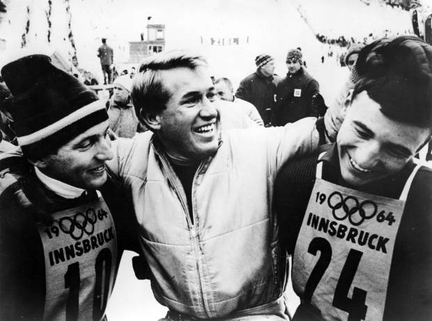 Billy Kidd, Bob Beattie and Jimmy Heuga at the Innsbruck Winter Olympics in 1964. Kidd and Heuga were on the U.S. Ski Team and Beattie was the U.S. Ski Team coach.