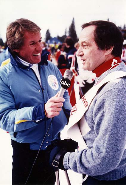 ABC sportscasters Bob Beattie, left, and Jim McKay at the John Denver Celebrity Pro-Am, circa 1980.