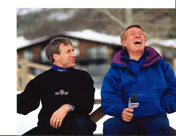 Bob Beattie (right) shares a laugh with Jimmie Heuga, who was a member of the U.S. Men's Ski Team in the 1964 Olympics. Beattie died Sunday at his son's home in western Colorado.