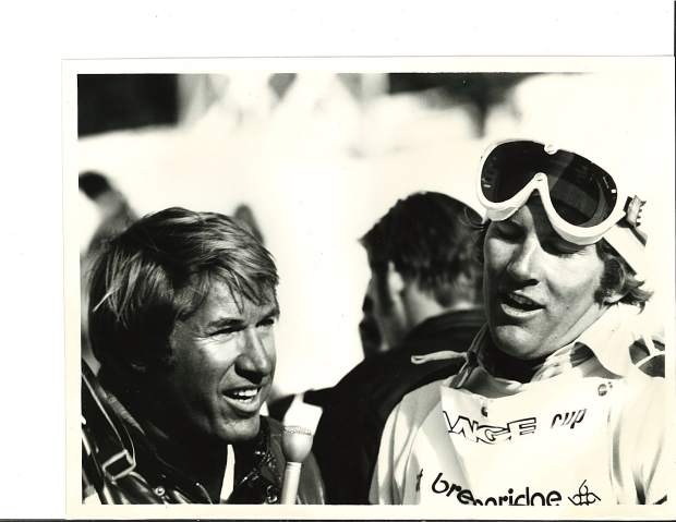 Bob Beattie (left) speaks with U.S. ski racer Vladimir
