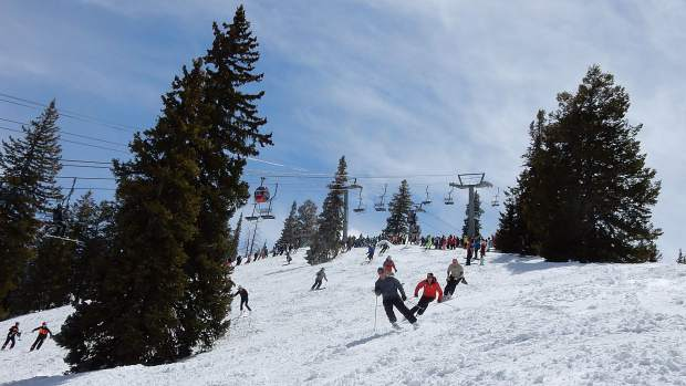 Corn snow and blue skies accommodate skiers and riders for the 47th annual Bell Mountain Buck-Off on the Ridge of Bell at 1 p.m. Sunday.