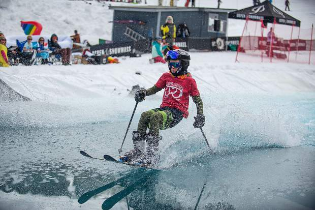 Mason Pfaffmann,12, skis across the pond skim at Snowmass for closing weekend on Sunday.
