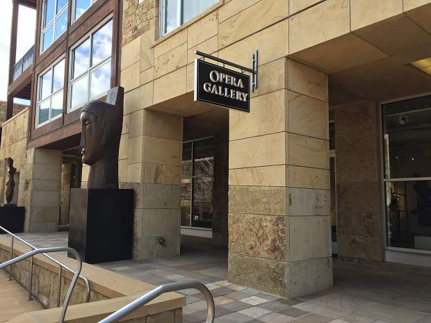 Opera Gallery on Dean Street near the base of Aspen Mountain, where a man destroyed a $3 million painting with a knife or razorblade in May 2017. An arrest warrant was issued this week for the suspect, who is from England and has family ties to the painting.