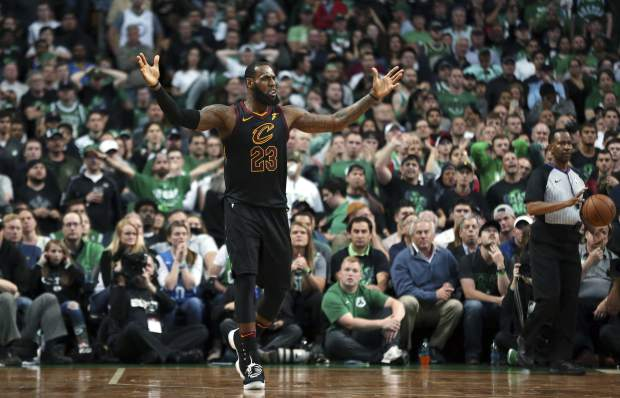 Cleveland Cavaliers forward LeBron James gestures during the second half in Game 7 of the NBA basketball Eastern Conference finals against the Boston Celtics, Sunday, May 27, 2018, in Boston. (AP Photo/Elise Amendola)
