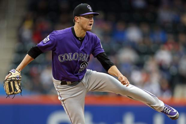Colorado Rockies starting pitcher Kyle Freeland delivers during the first inning of a baseball game against the New York Mets on Sunday, May 6, 2018, in New York. (AP Photo/Adam Hunger)