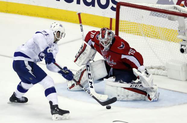 Tampa Bay Lightning center Anthony Cirelli (71) has his shot blocked by Washington Capitals goaltender Braden Holtby (70) during the second period of Game 6 of the NHL Eastern Conference finals hockey playoff series, Monday, May 21, 2018, in Washington. (AP Photo/Alex Brandon)
