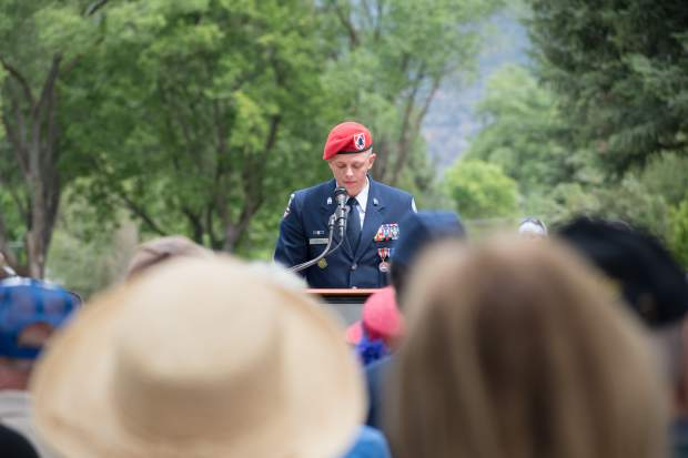 Glenwood Springs High School Airforce JROTC Cadet Lt. Col Avery Justice gives the Memorial Day address during Monday's ceremony at Rosebud Cemetery.