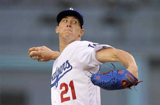 Los Angeles Dodgers starting pitcher Walker Buehler throws to the plate during the first inning of a baseball game against the Colorado Rockies Monday, May 21, 2018, in Los Angeles. (AP Photo/Mark J. Terrill)