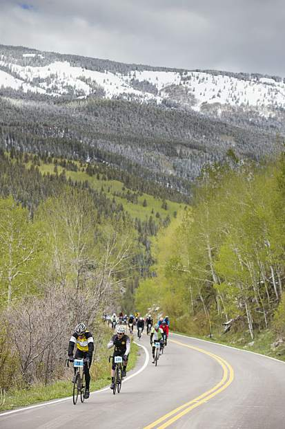 Riders settle into the slow grind up Independence Pass last year for the Ride for the Pass event. This year's event is Saturday.
