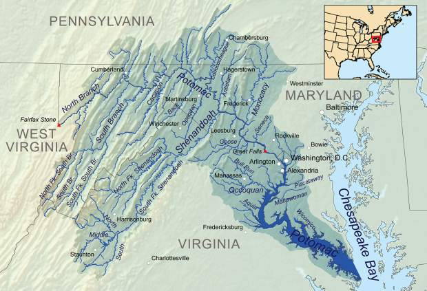A map of the Potomac River Basin.