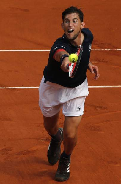 Austria's Dominic Thiem volleys the ball to Spain's Rafael Nadal during the men's final match of the French Open tennis tournament at the Roland Garros stadium, Sunday, June 10, 2018 in Paris. (AP Photo/Thibault Camus)