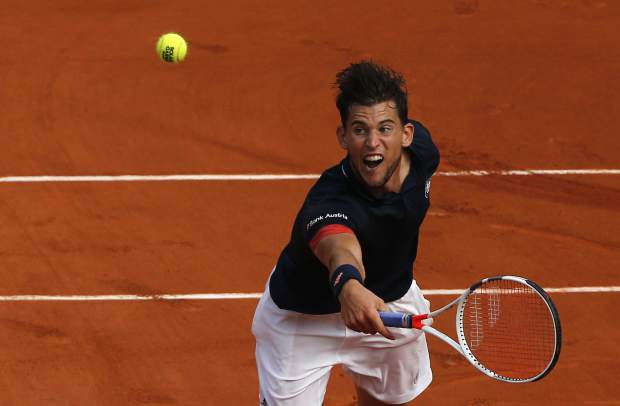 Austria's Dominic Thiem is to return the ball to Spain's Rafael Nadal during the men's final match of the French Open tennis tournament at the Roland Garros stadium, Sunday, June 10, 2018 in Paris. (AP Photo/Thibault Camus)