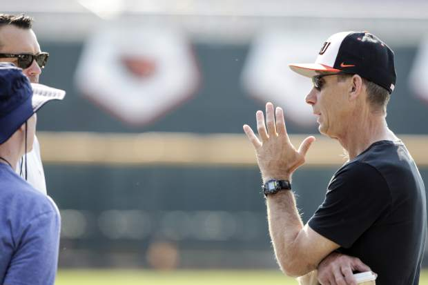 Oregon State coach Pat Casey talks to reporters during practice at TD Ameritrade Park in Omaha, Neb., Friday, June 15, 2018. Oregon State plays North Carolina on Saturday in the NCAA College World Series baseball tournament.. (AP Photo/Nati Harnik)