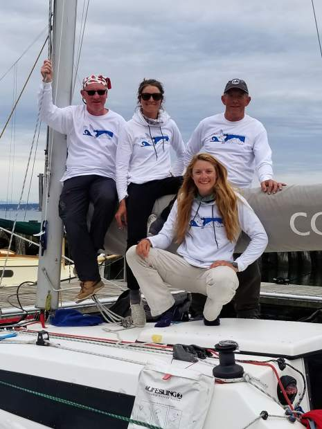 The Team Ptarmigan crew, including Bo and Kelsey Bohanon from Glenwood Springs, and Molly McPartland and Jack Gallagher, get ready to set sail last week in the ongoing Race 2 Alaska.