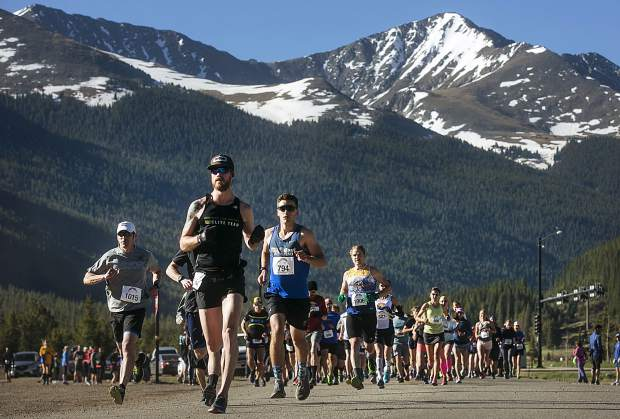 2018 Run The Rockies half-marathon winner Bobby Craig of Frisco leads the pack during the Run the Rockies race Saturday, June 2, near Frisco.
