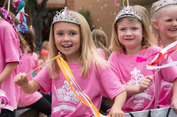 The Miss Strawberry Days Princesses make an appearance during the parade on Saturday morning.