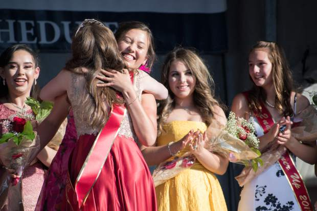 Miss Strawberry Days contestant Brittany Rhodes is awarded the First Runner-Up for the 2018 Miss Strawberry Days during Friday night's crowning ceremony at Sayre Park.